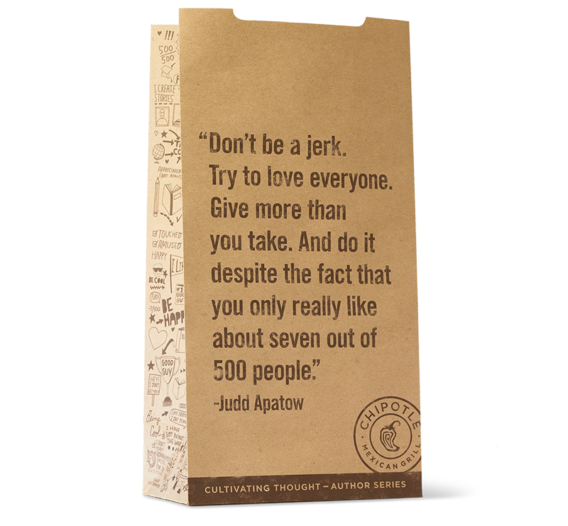 Judd Apatow wrote a story for the Chipotle bag and it's covered in empathy